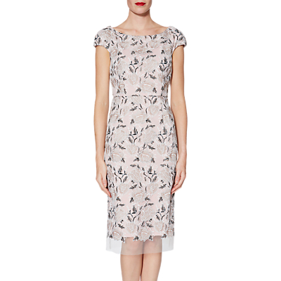 Gina Bacconi Leila Embroidered Dress, Beige/Black