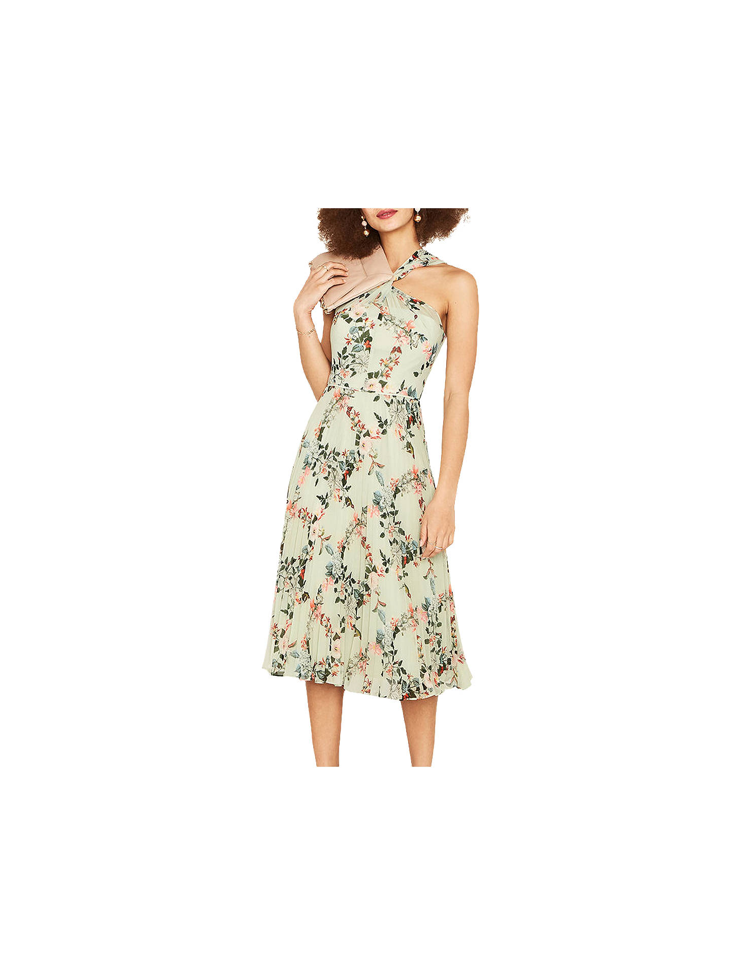 bc40ccf99967 Buy Oasis Fitzwilliam Pleated Midi Dress, Green/Multi, 6 Online at  johnlewis.