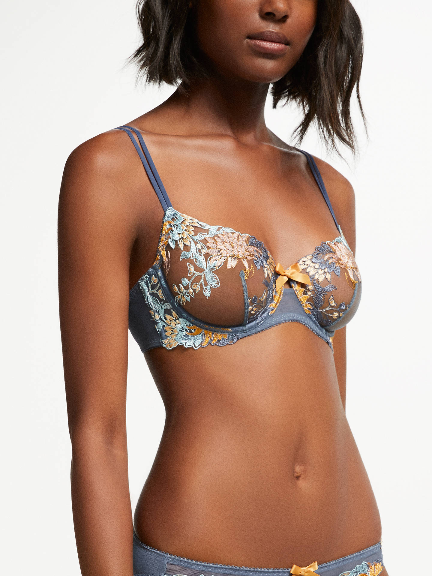 Buy AND/OR Harper Embroidered Demi Bra , Arizona Blue, 30C Online at johnlewis.com