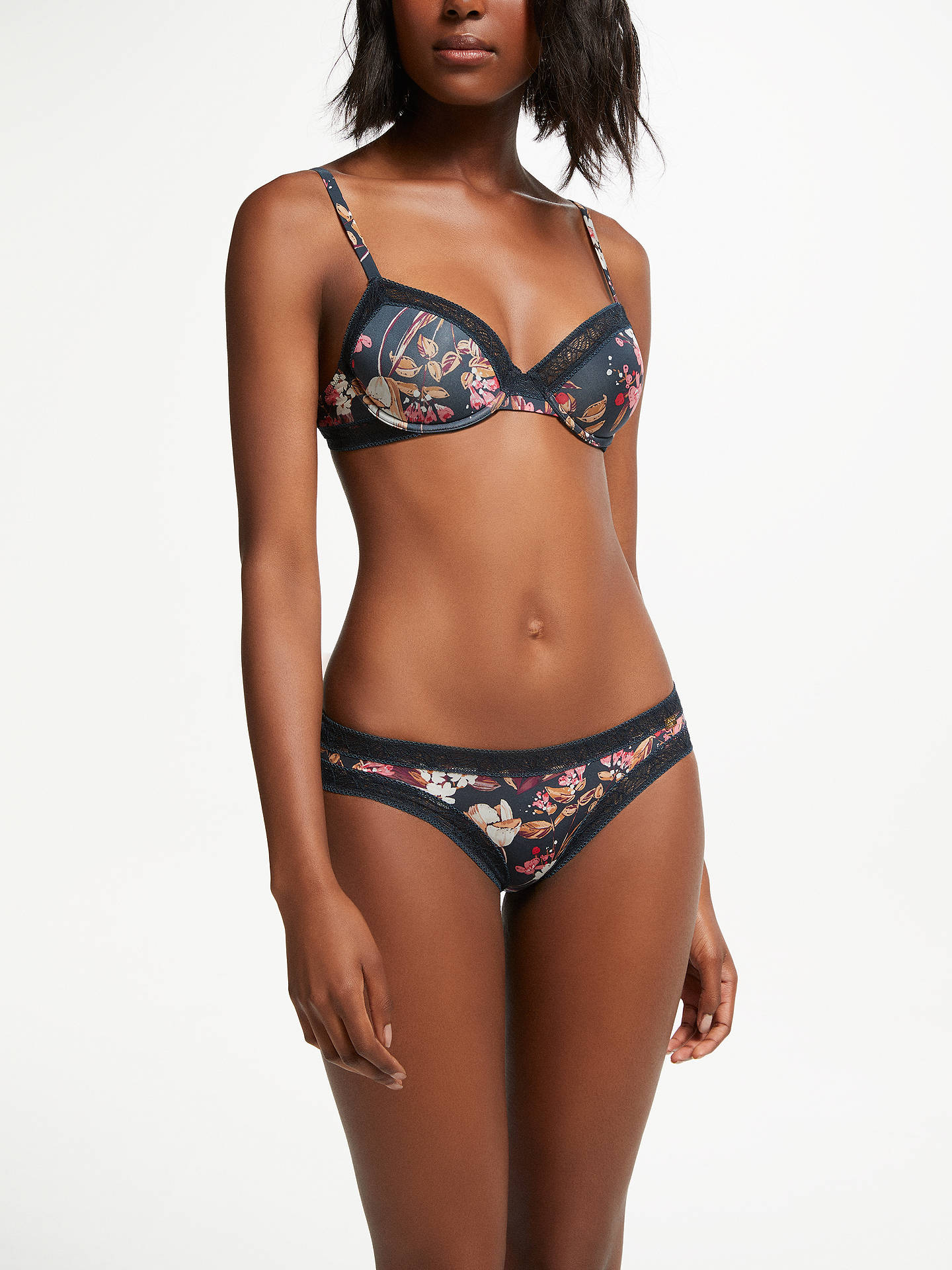 BuyAND/OR Phoebe Weathered Floral Print Bra, Navy, 30C Online at johnlewis.com
