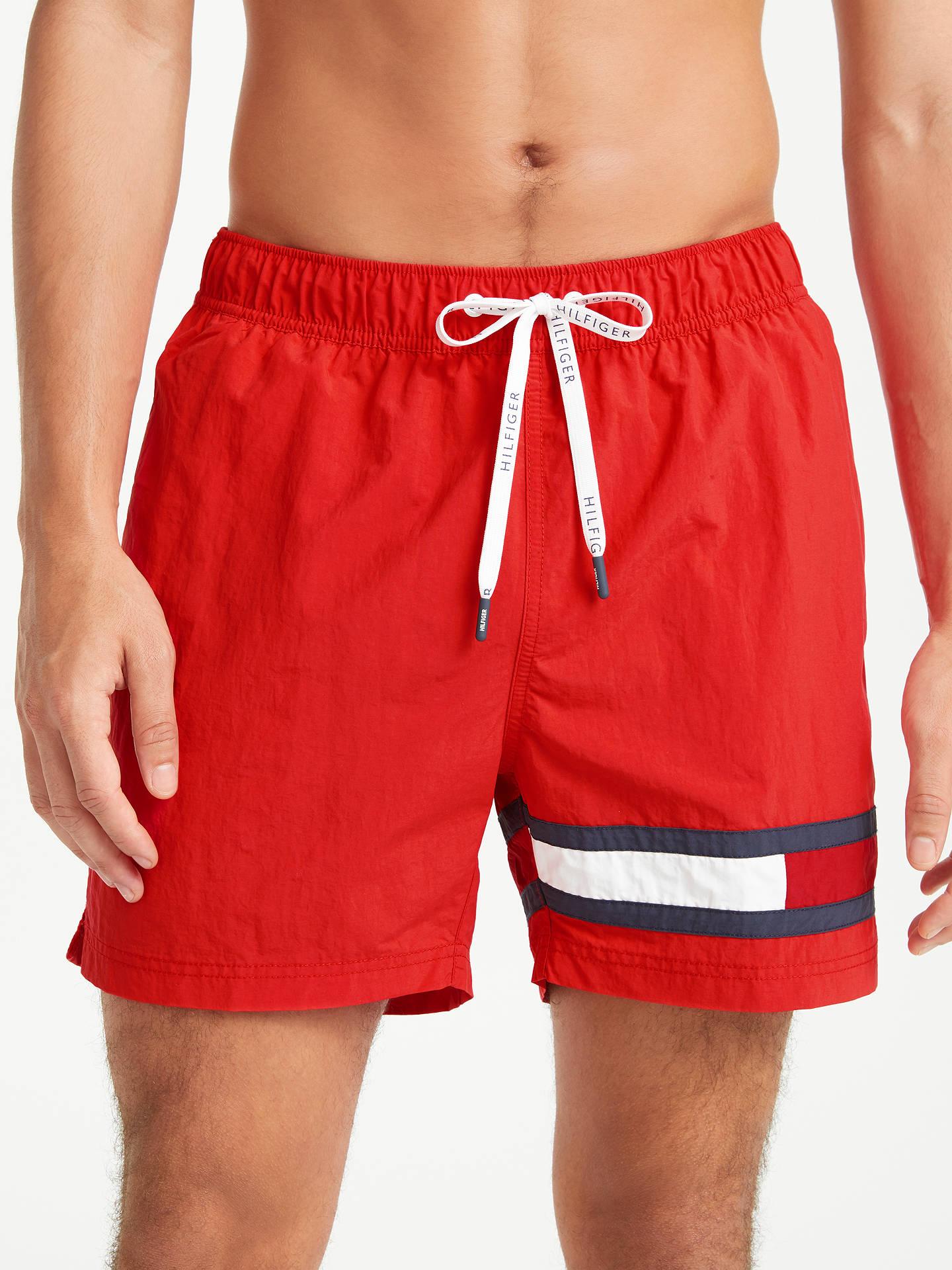 a869783ca56dc Buy Tommy Hilfiger Flag Leg Swim Shorts, Flame Scarlet, L Online at  johnlewis.