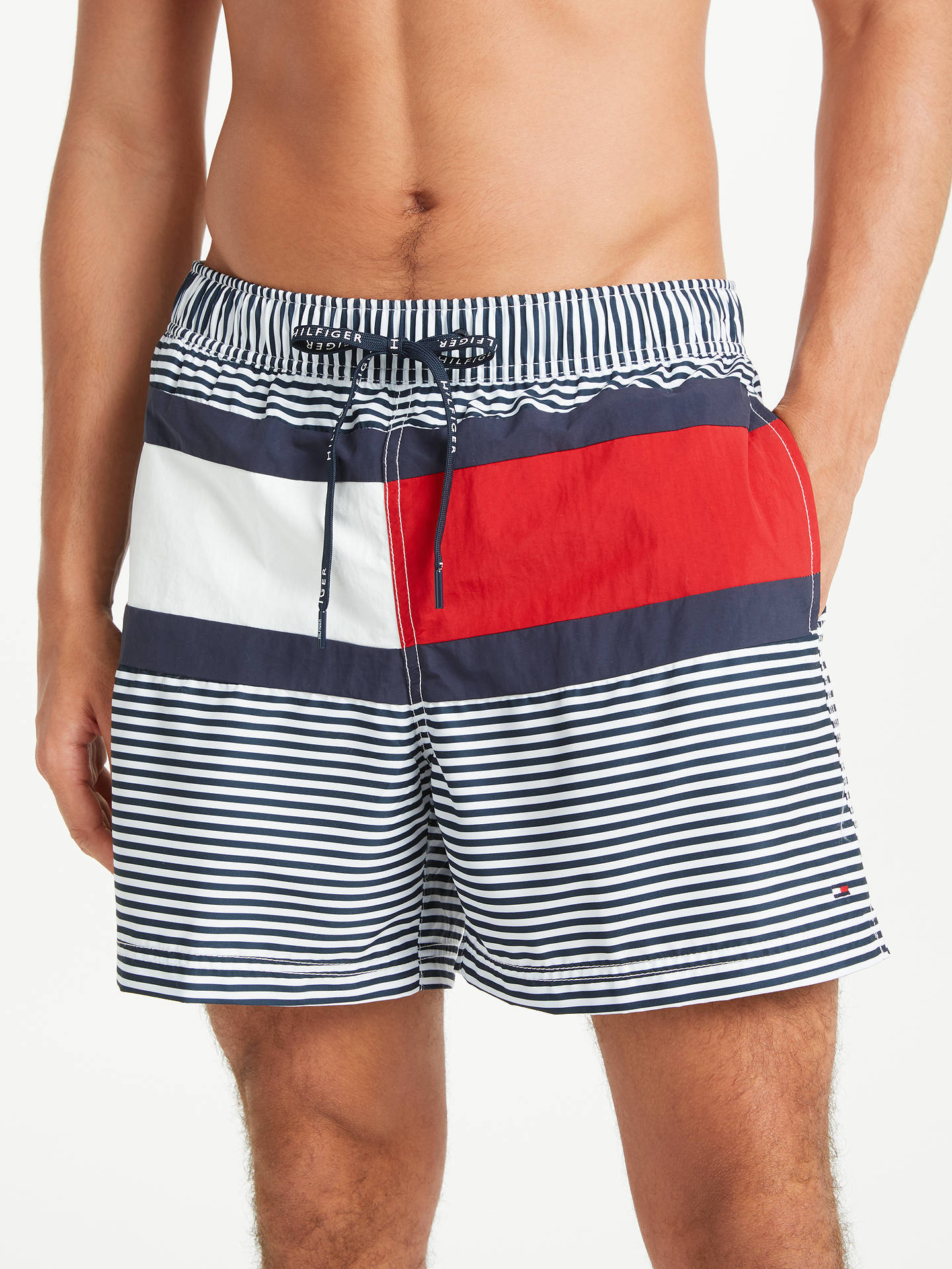 b54ef85901 Buy Tommy Hilfiger Stripe Flag Swim Shorts, Navy/White, XL Online at  johnlewis