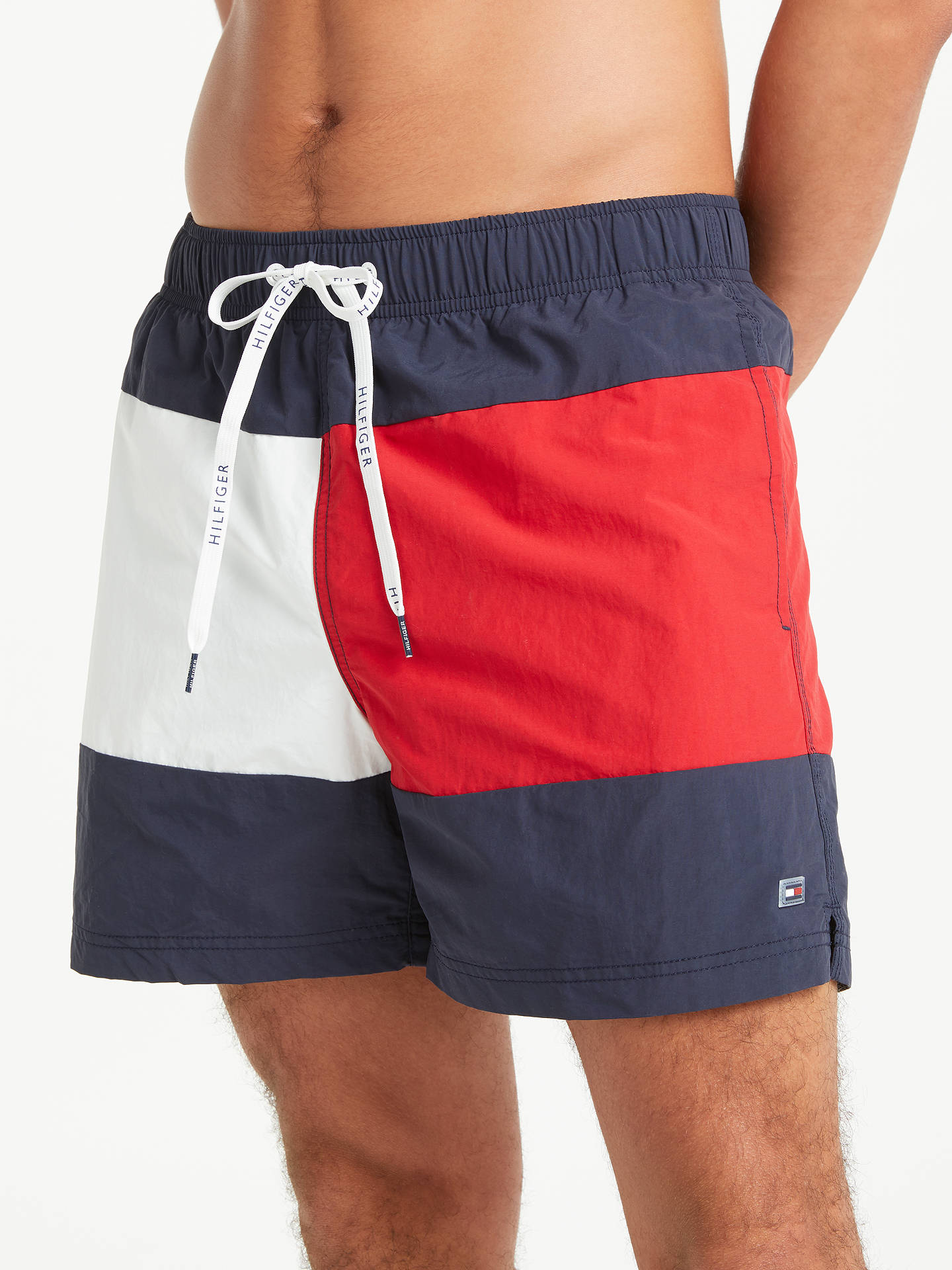 885f4ed845 Buy Tommy Hilfiger Flag Print Swim Shorts, Navy/Red, XL Online at johnlewis  ...