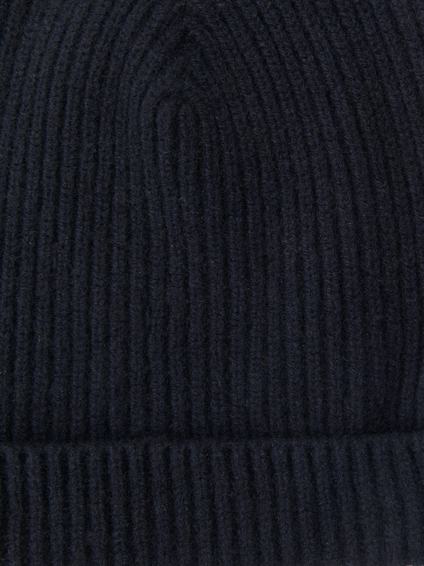 Buy John Lewis & Partners Italian Cashmere Ribbed Beanie Hat, One Size, Navy Online at johnlewis.com