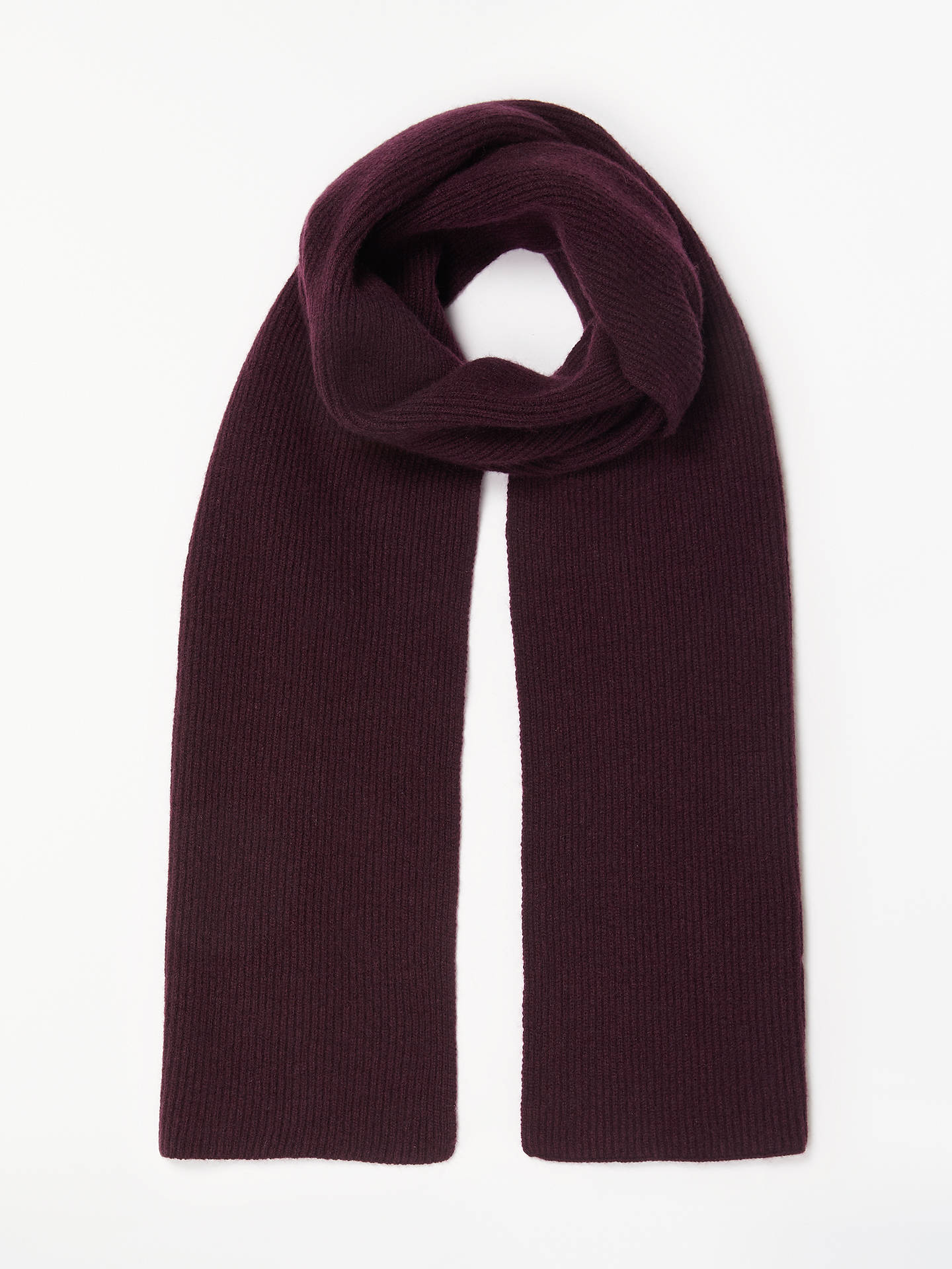 ba4fb5db25c0e Buy John Lewis & Partners Ribbed Cashmere Scarf, Burgundy, One size Online  at johnlewis ...