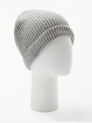John Lewis & Partners Italian Cashmere Ribbed Beanie Hat, One Size