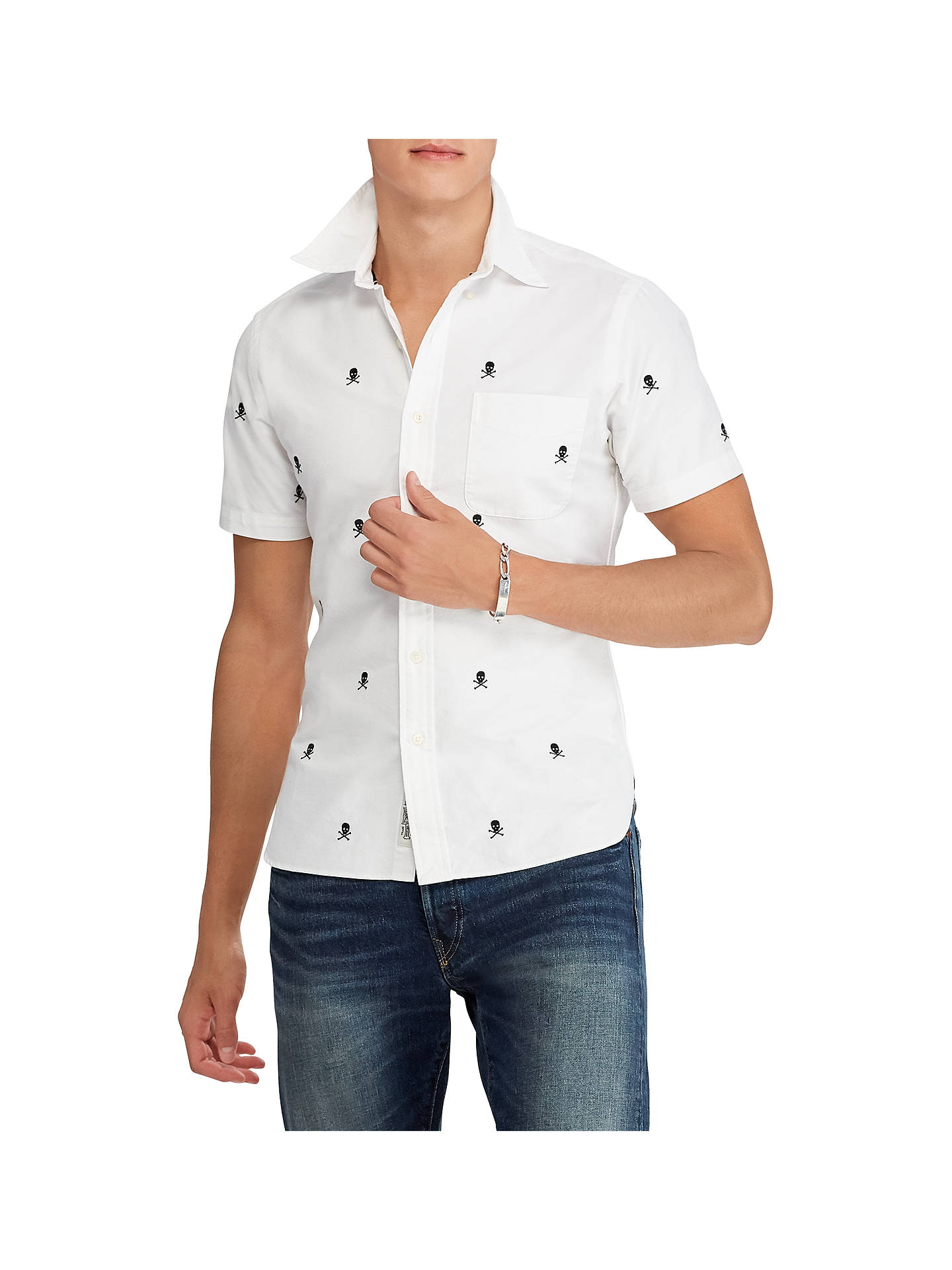 Polo Ralph Lauren Skull And Bones Slim Fit Shirt, White/Black at ...