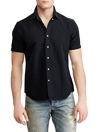 Buy Polo Ralph Lauren Short Sleeve Oxford Shirt, Black, XL Online at johnlewis.com