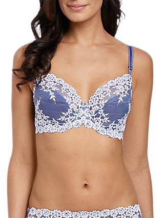 Wacoal Embrace Lace Underwired Bra, Bleached Denim/White