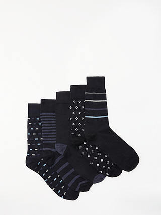 Buy John Lewis & Partners City Pattern Socks, Pack of 5, Navy/Multi, S Online at johnlewis.com