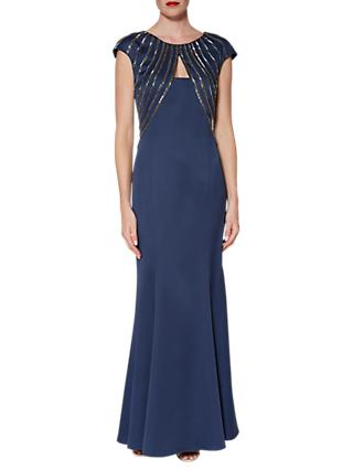 Gina Bacconi Dominique Beaded Maxi Dress, Navy