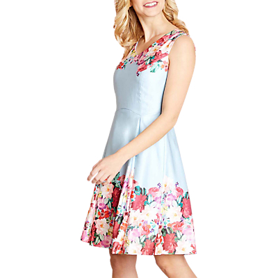 Image of Yumi Floral Watercolour Dress, Pale Blue