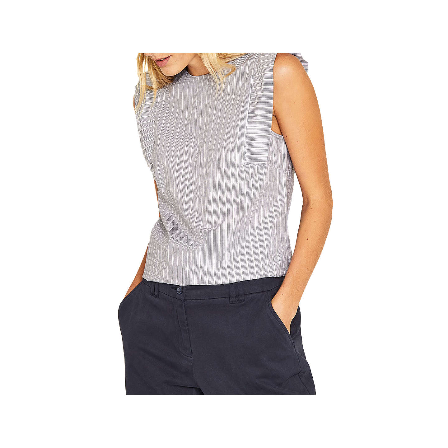BuyOasis Ticking Stripe Angel Sleeve Top, Multi/Blue, 6 Online at johnlewis.com