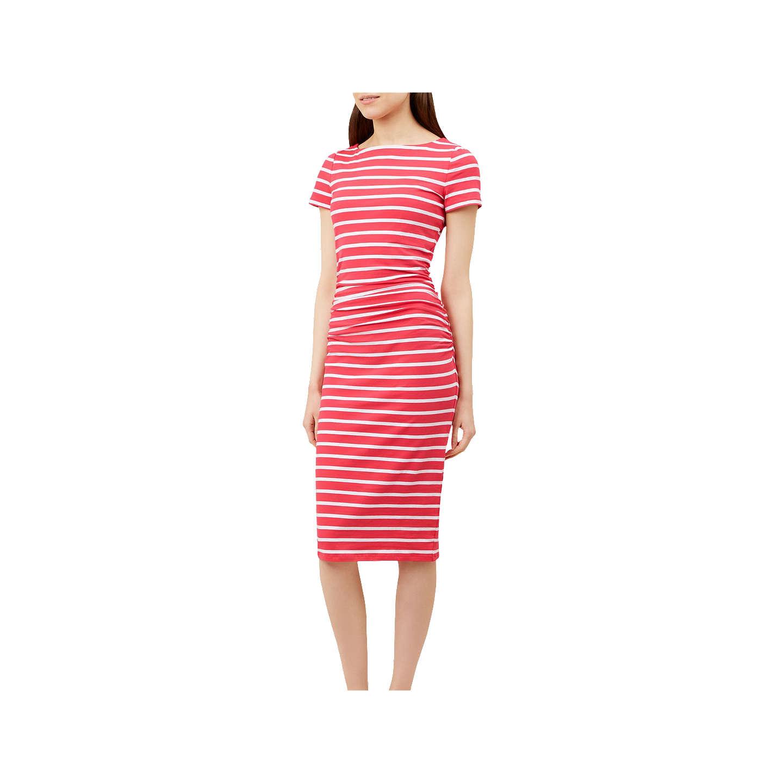 Hobbs Bridget Striped Midi Dress, Flamingo Pink at John Lewis