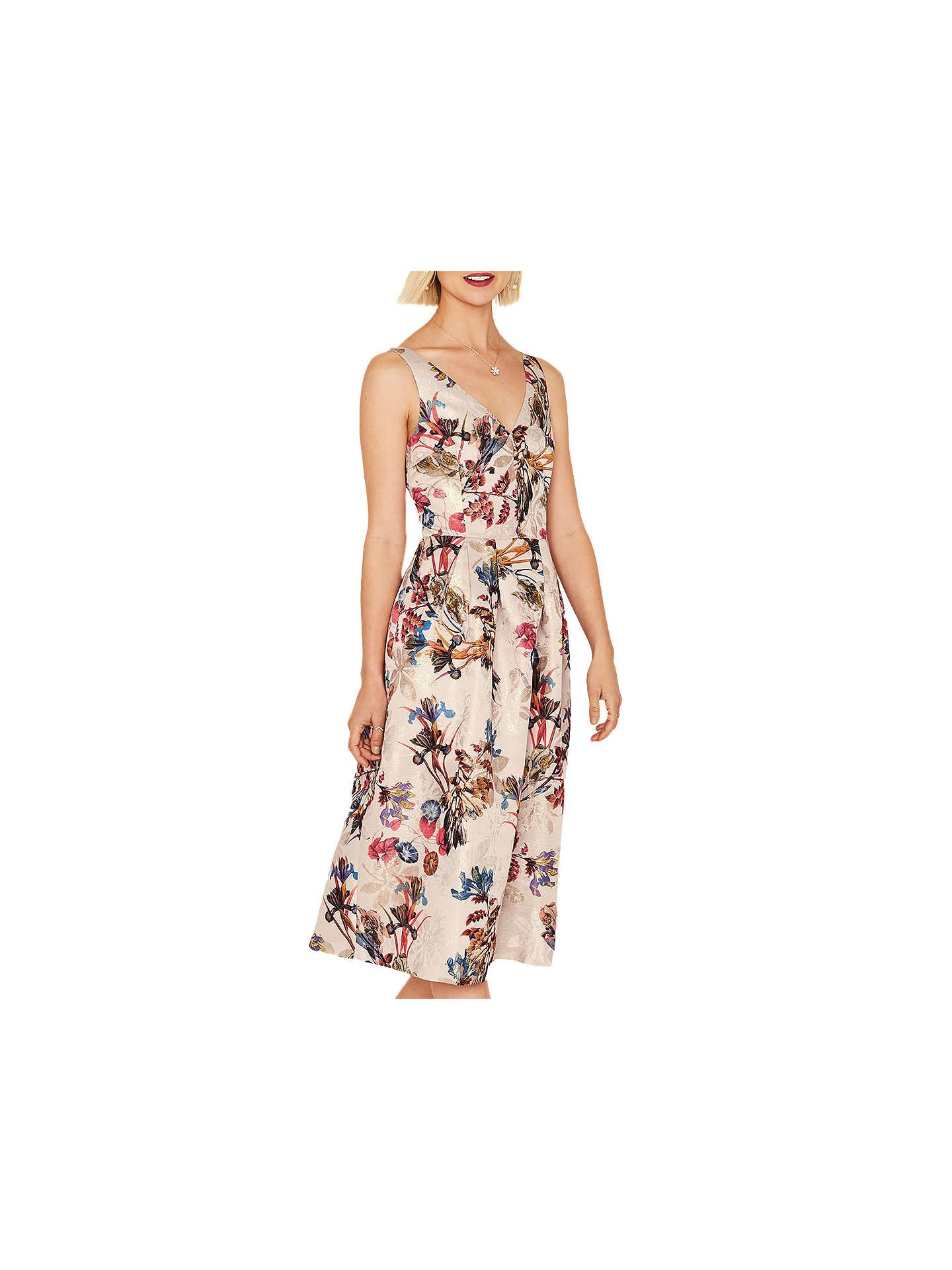 97d6a4d4af54 Buy Oasis Floral Iris Jacquard Midi Dress, Multi, 6 Online at johnlewis.com  ...