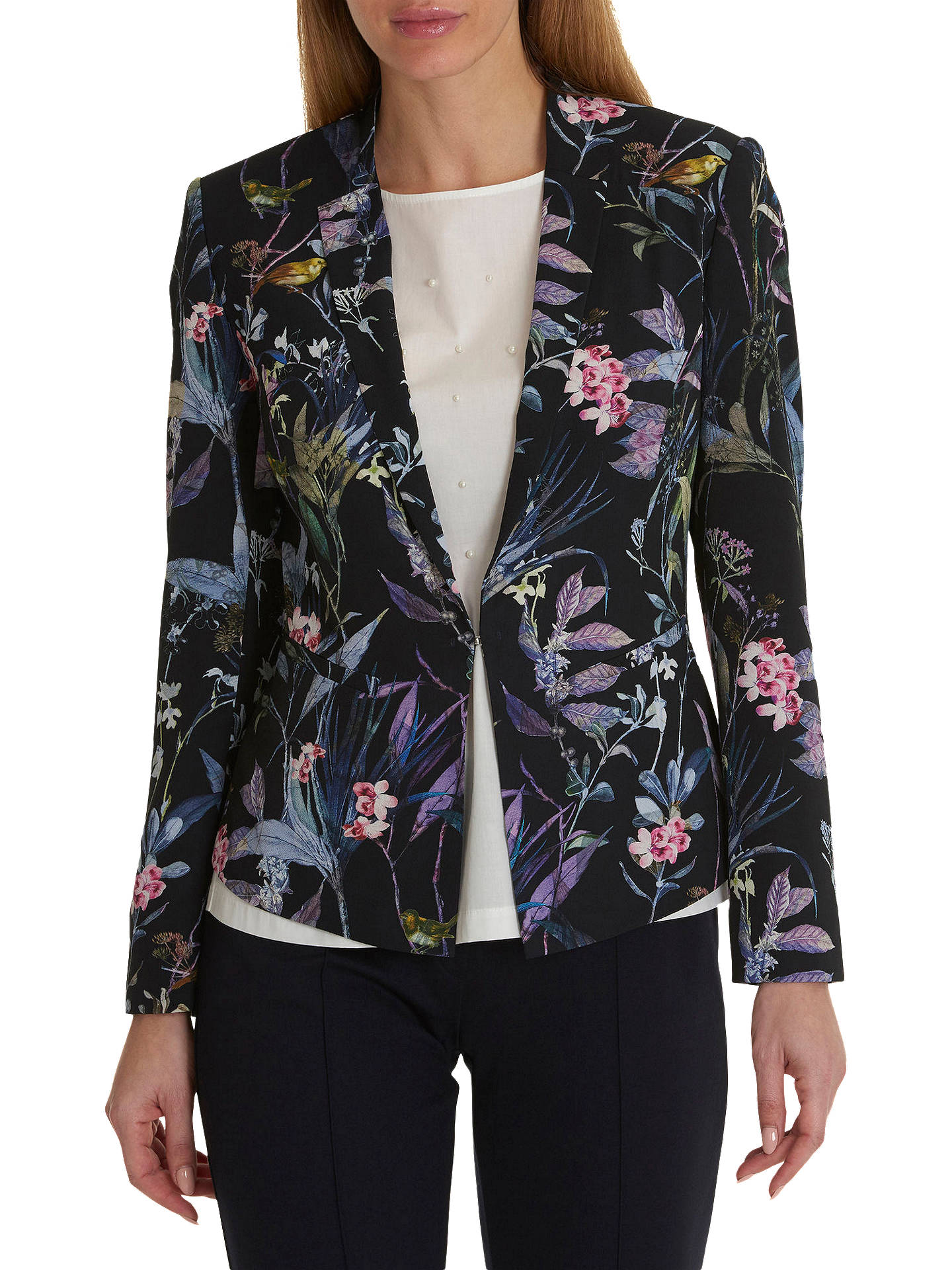 Buy Betty & Co. Floral Print Crepe Blazer, Blue/Purple, 10 Online at johnlewis.com
