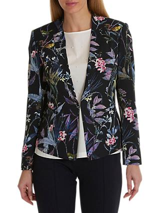 Betty & Co. Floral Print Crepe Blazer, Blue/Purple