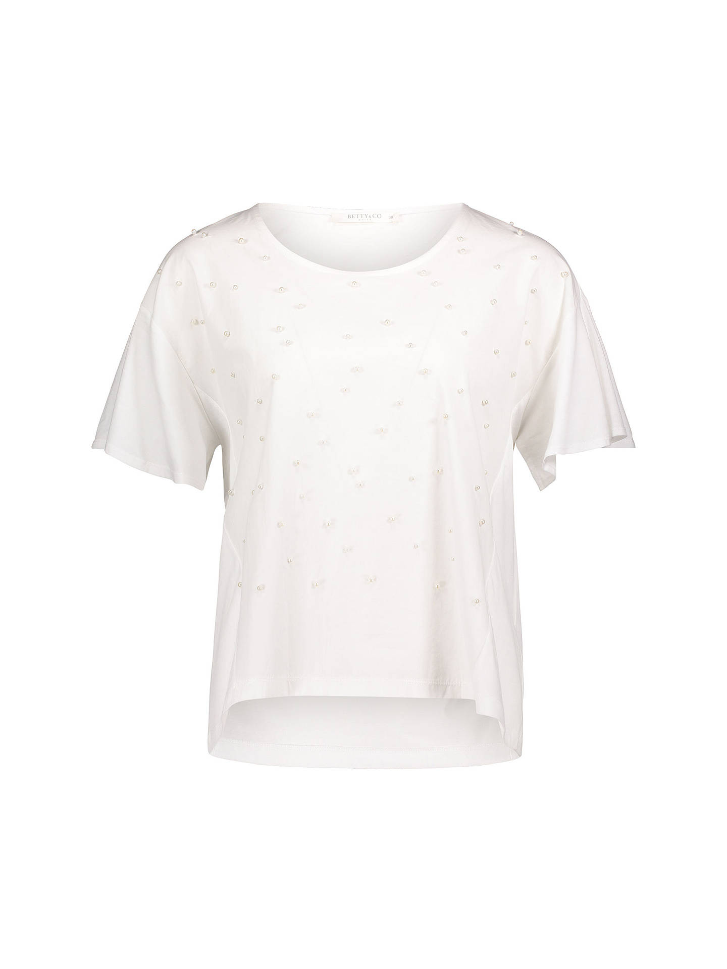 Buy Betty & Co. Pearl Embellished Top, White, 10 Online at johnlewis.com