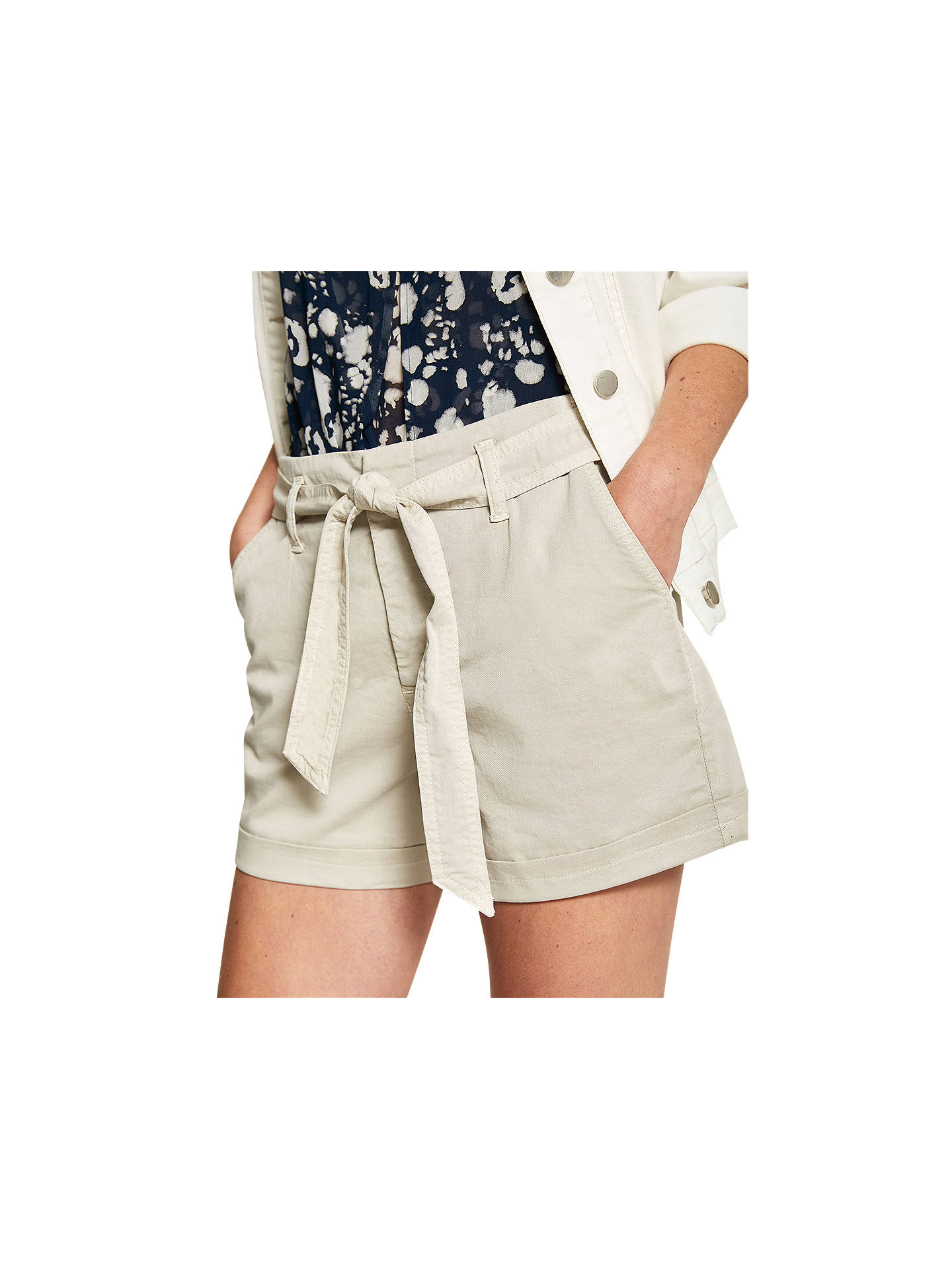 BuyMint Velvet Oyster Chino Tie Waist Shorts, Natural, 6 Online at johnlewis.com