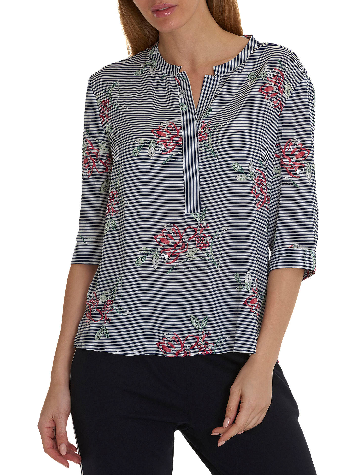 Buy Betty & Co. Floral Stripe Print Blouse, Blue/Multi, 10 Online at johnlewis.com