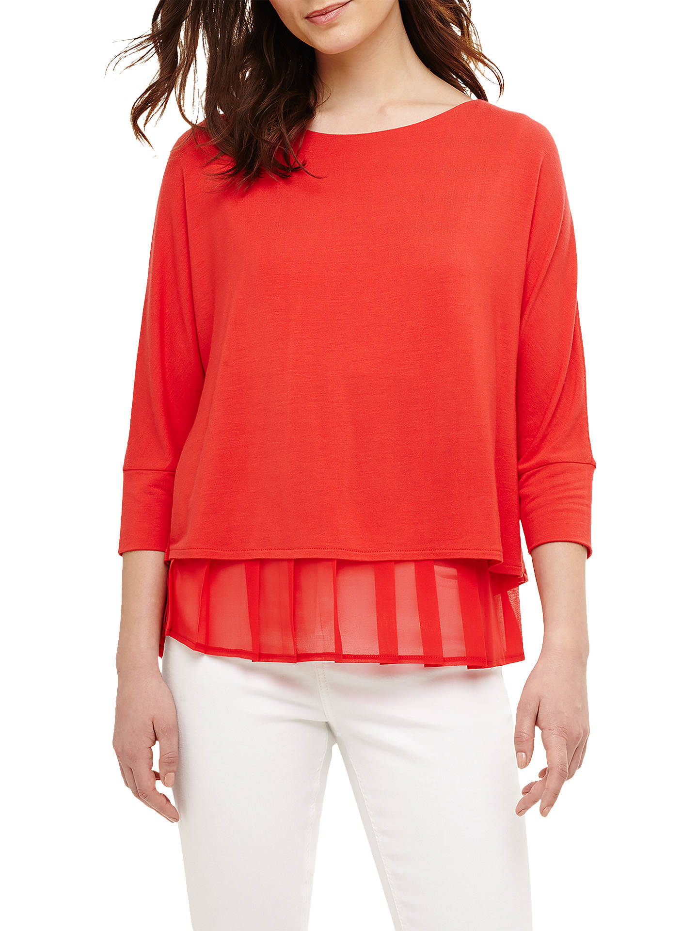 BuyPhase Eight Petunia Pleated Hem Top, Cherry, 12 Online at johnlewis.com