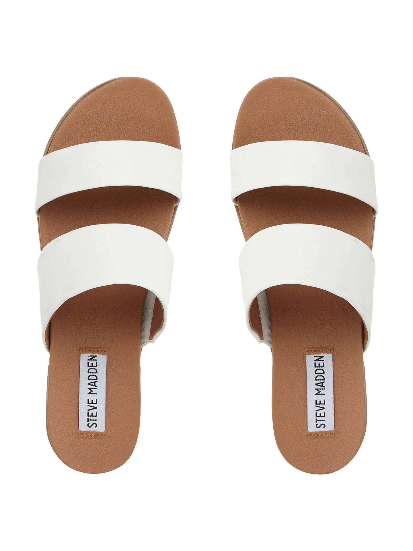 BuySteve Madden Judy Two Band Leather Sliders, White, 3 Online at johnlewis.com