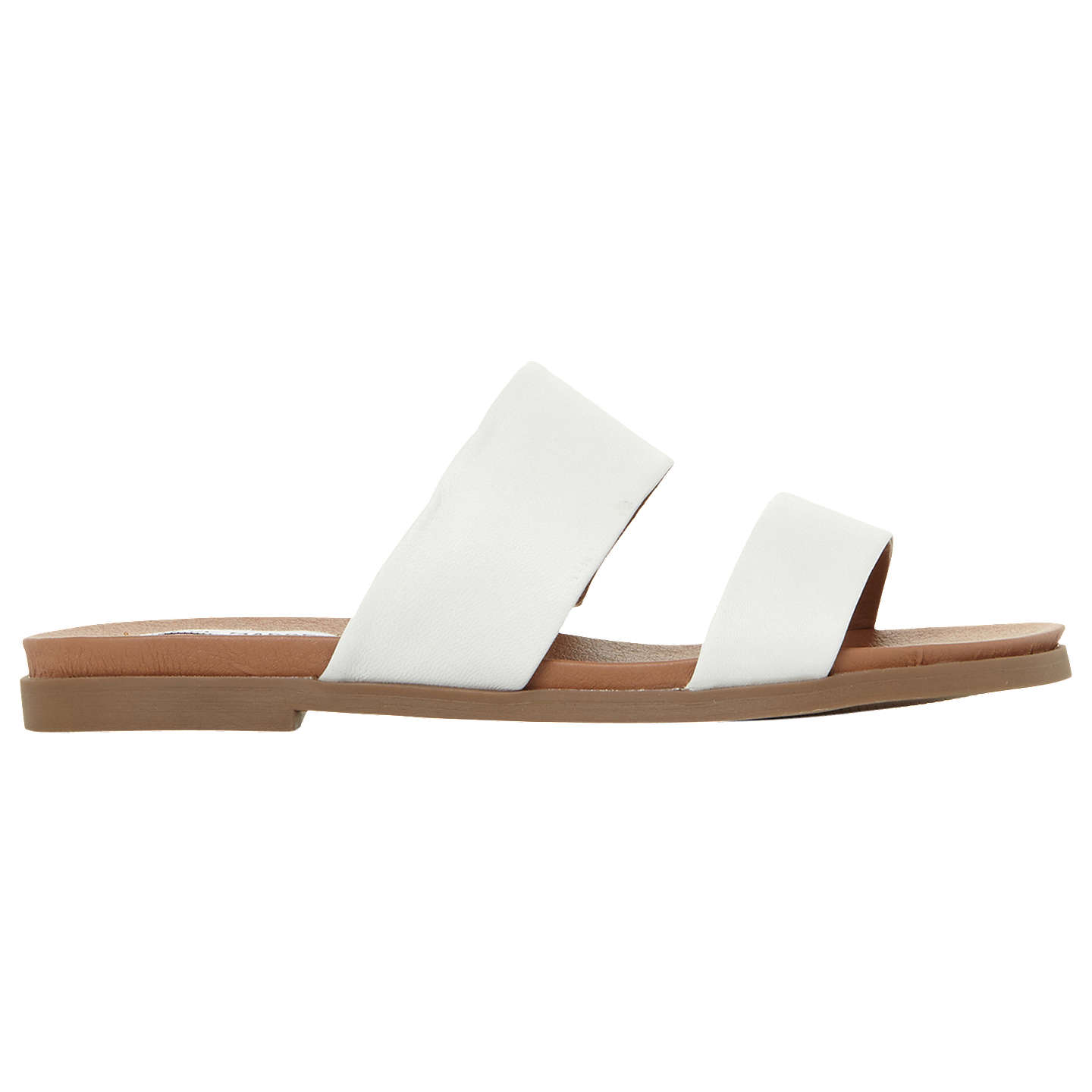 BuySteve Madden Judy Two Band Leather Sliders, White, 3 Online at  johnlewis.com ...