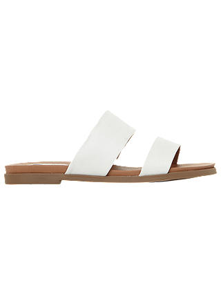 Buy Steve Madden Judy Two Band Leather Sliders, White, 3 Online at johnlewis.com
