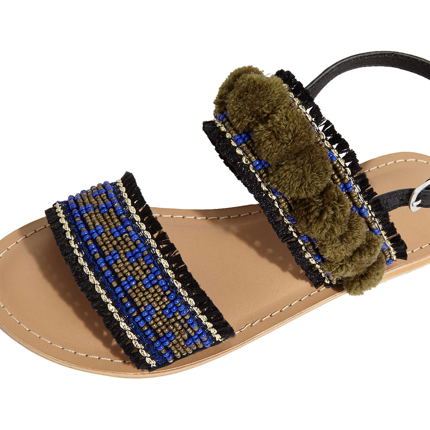 BuyJigsaw Minna Embellised Pom Sandals, Blue/Multi, 3 Online at johnlewis.com