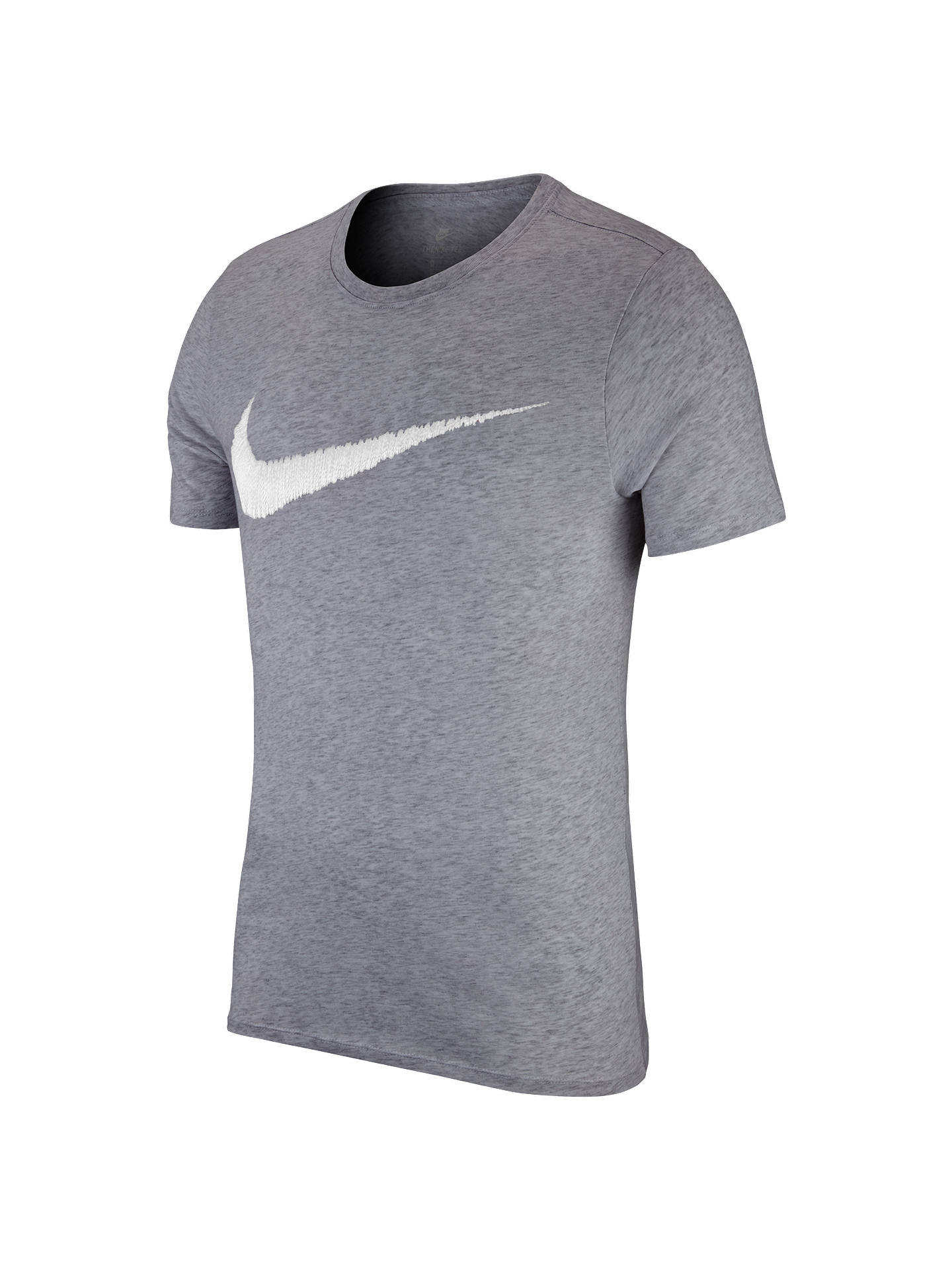 0a7344a24 Buy Nike Sportswear Swoosh Cotton T-Shirt, Dark Grey Heather/White, XL ...