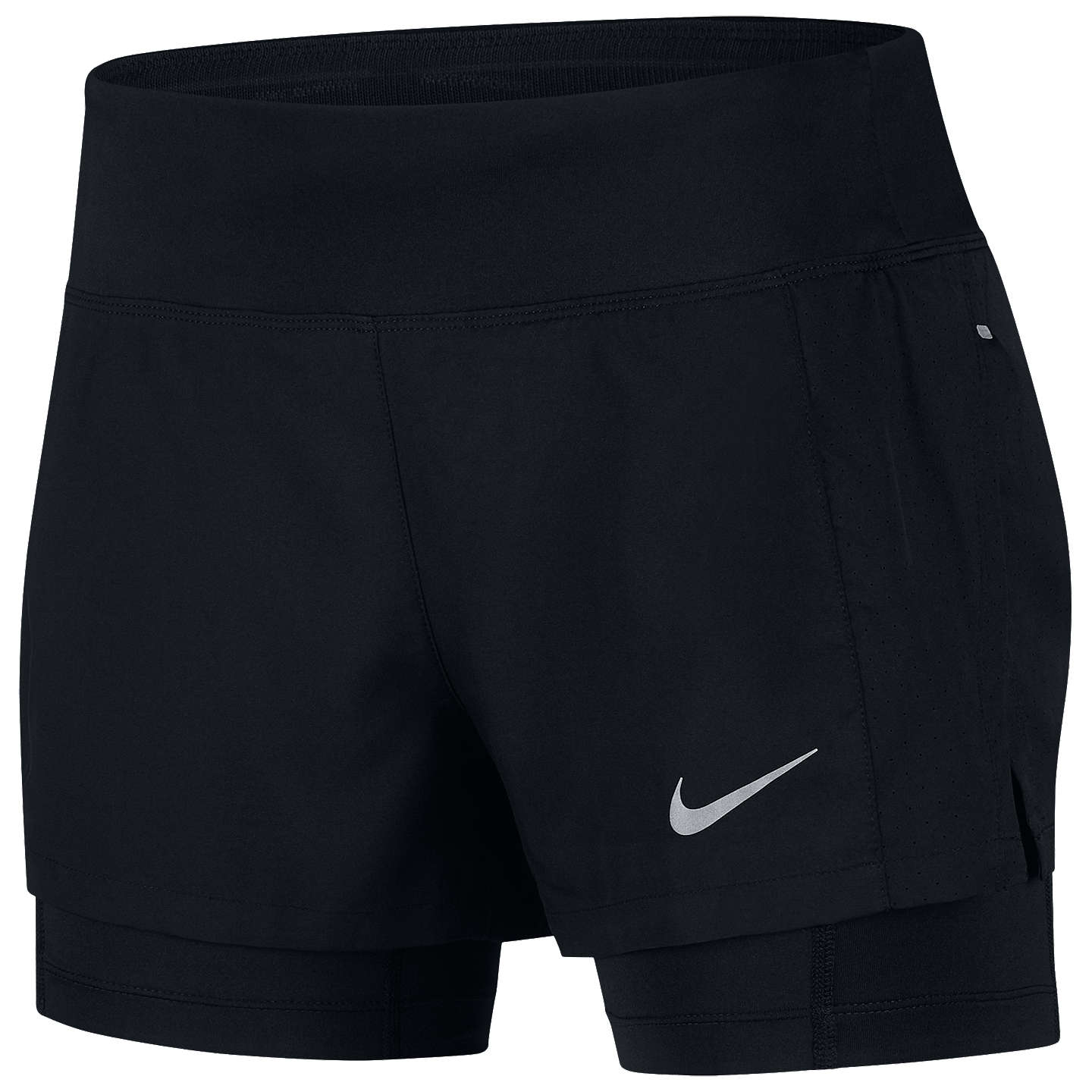 Nike Eclipse 2 In 1 Running Shorts, Black/Reflective Silver by Nike