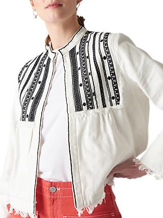 Whistles Embroidered Jacket, Ivory