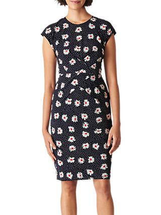 Whistles Daisy Spot Print Bodycon Dress, Black/Multi