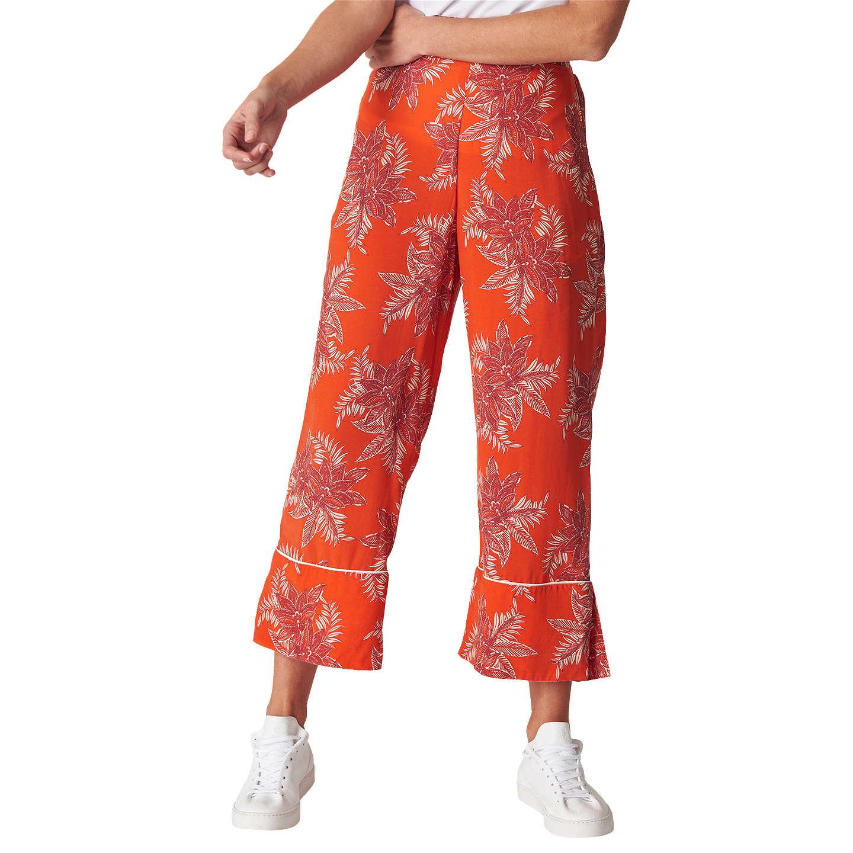 Silk Orange Palm Print Trousers