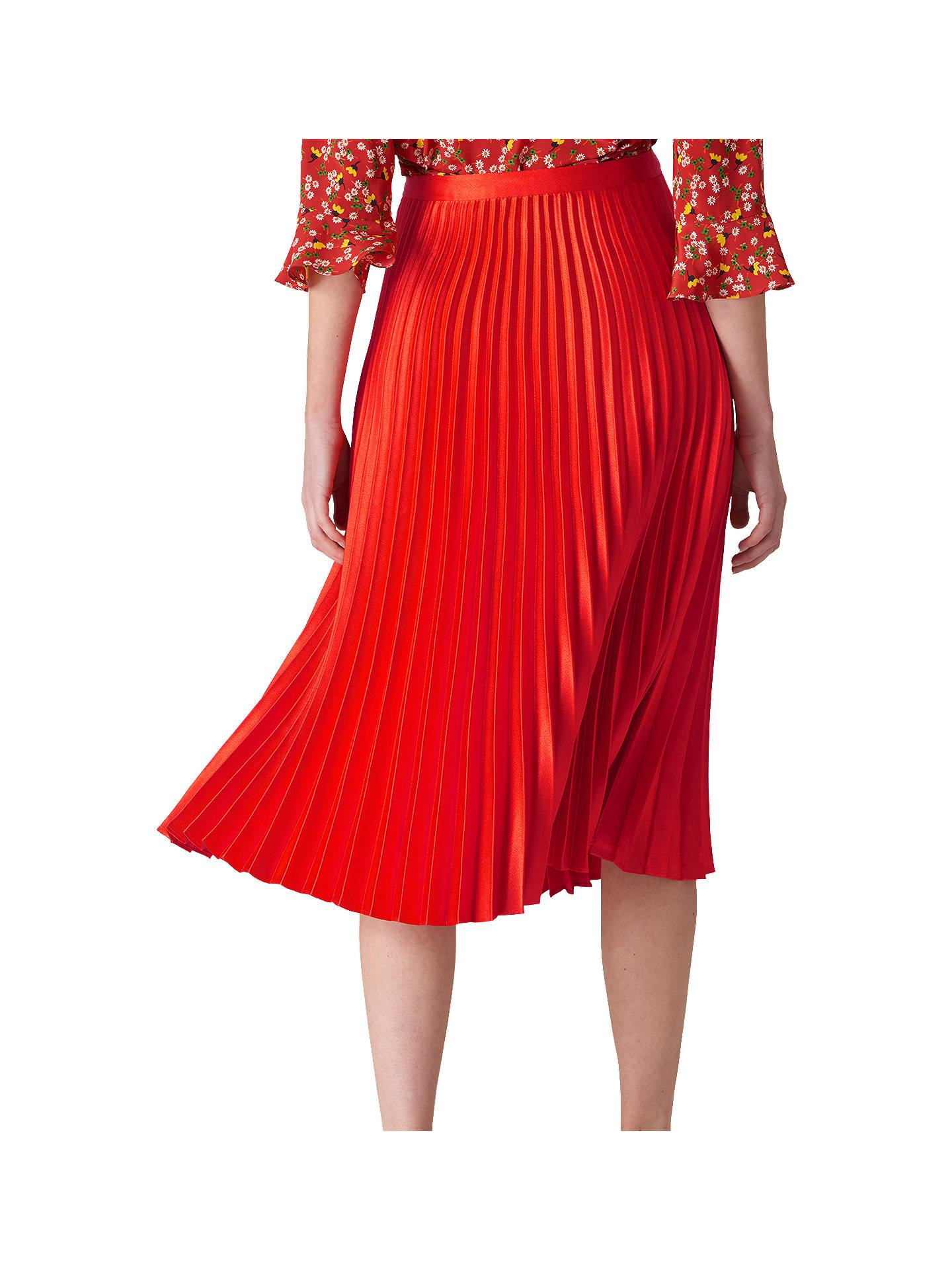 87b8c6b22a ... Buy Whistles Satin Pleated Skirt, Flame, 14 Online at johnlewis.com ...