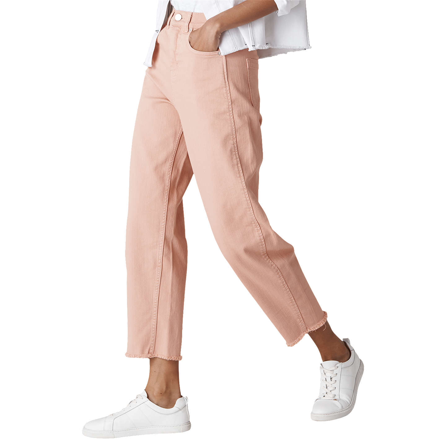 BuyWhistles High Waist Barrel Leg Jeans, Pale Pink, 26 Online at johnlewis.com