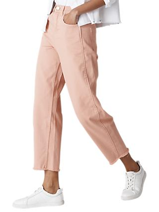 Whistles High Waist Barrel Leg Jeans, Pale Pink