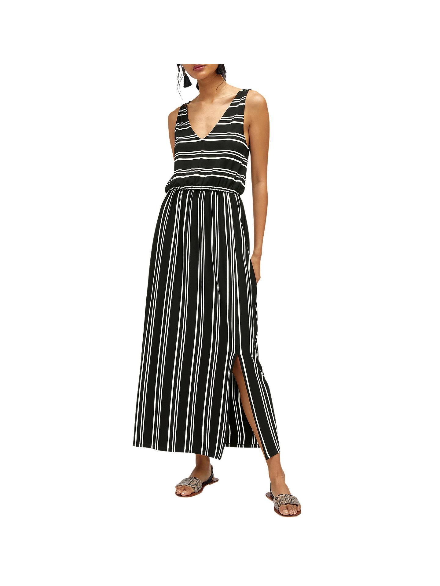 b2124d359a099 Buy Warehouse Stripe V Neck Maxi Dress, Black, 6 Online at johnlewis.com ...