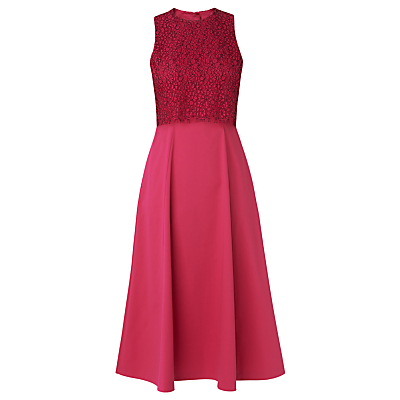 L.K.Bennett Alecia Cotton Mix Dress, Fuchsia