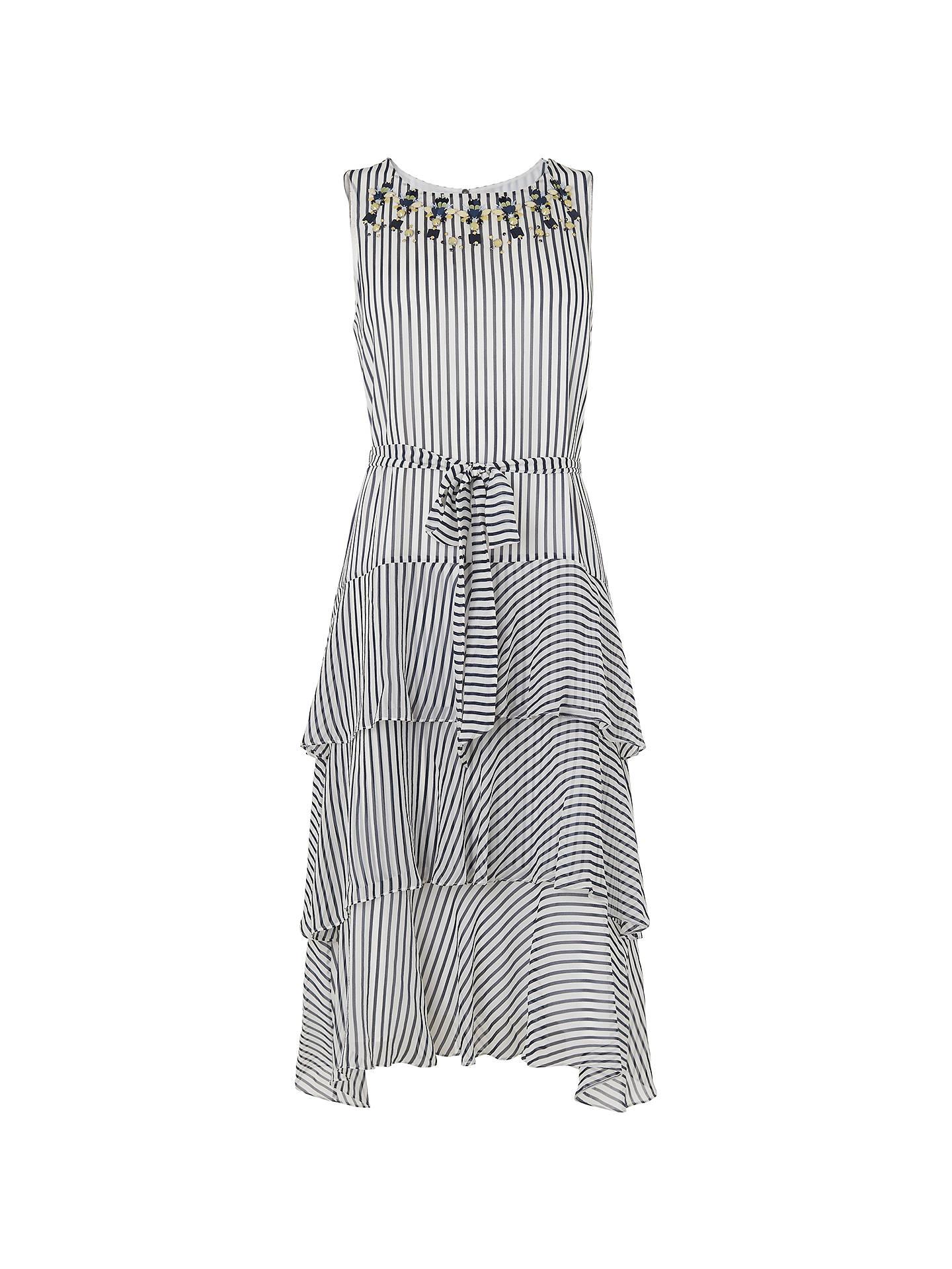 d222b8d3956 L.K.Bennett Nesta Silk Dress, Blue/Cream at John Lewis & Partners