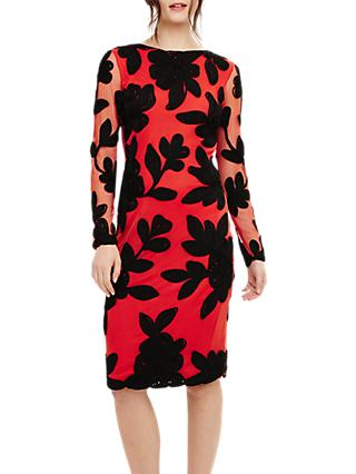 Phase Eight Daisy Tapework Dress, Paprika/Black