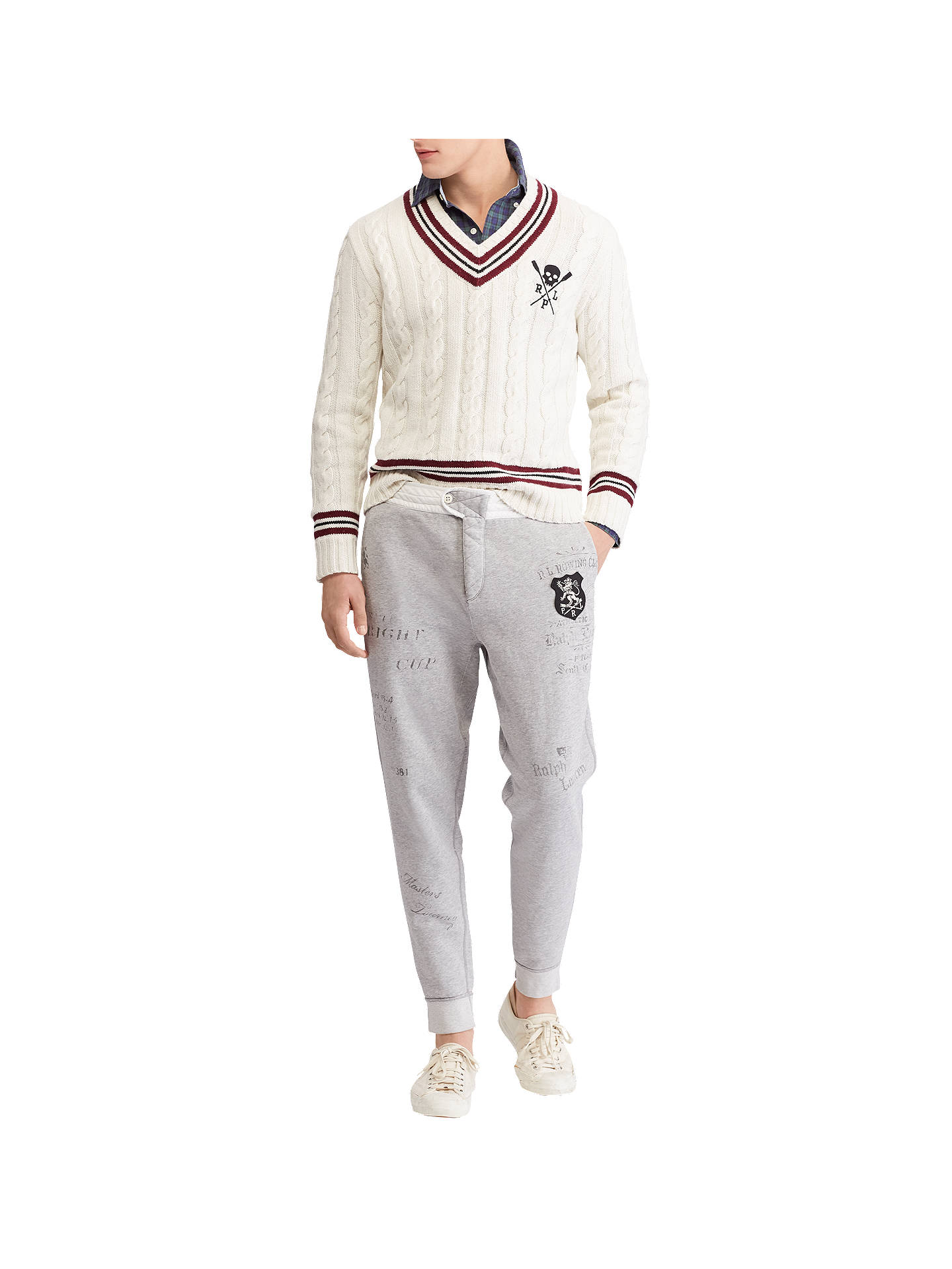 Buy Polo Ralph Lauren Cricket Cable Knit Jumper, Cream/Black, M Online at johnlewis.com