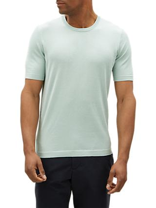 Jaeger Cotton Silk Short Sleeve Jumper, Mint