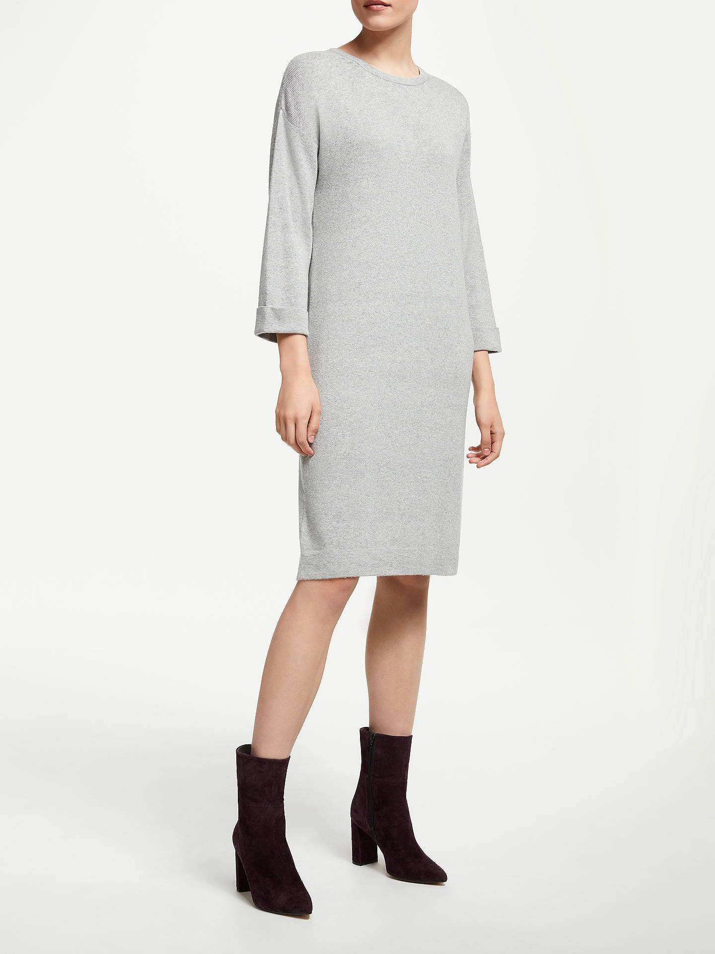 BuyJohn Lewis & Partners Drop Sleeve Knitted Dress, Light Grey, 8 Online at johnlewis.com