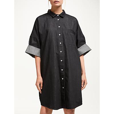 Kin Denim Oversized Utility Shirt Dress, Black