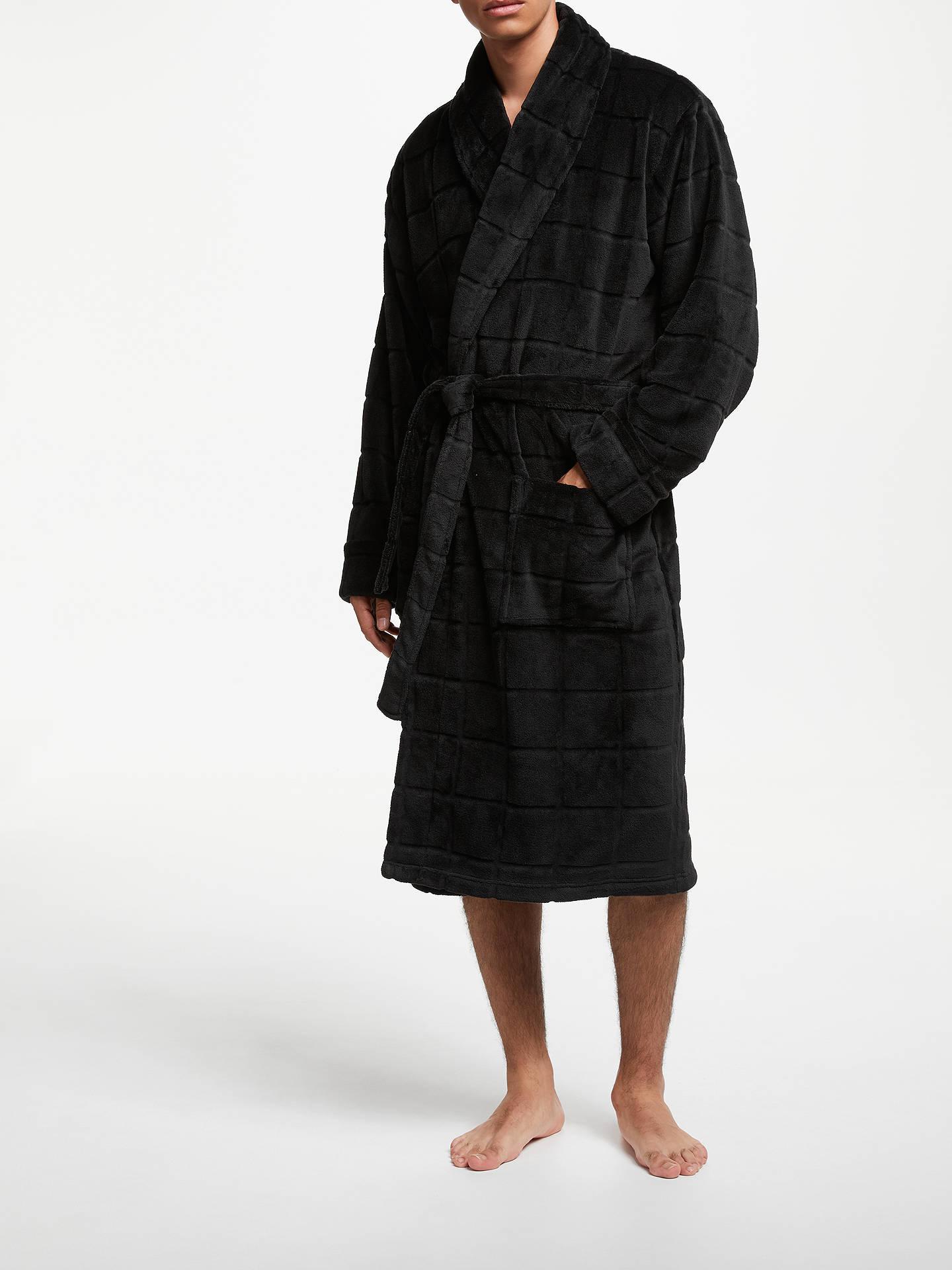 John Lewis Partners Ribbed Fleece Dressing Gown Black At John