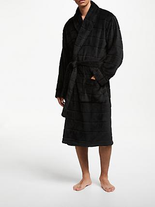 John Lewis & Partners Ribbed Fleece Dressing Gown, Black