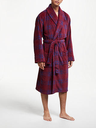 Buy John Lewis & Partners Check Fleece Robe, Red/Blue, S Online at johnlewis.com
