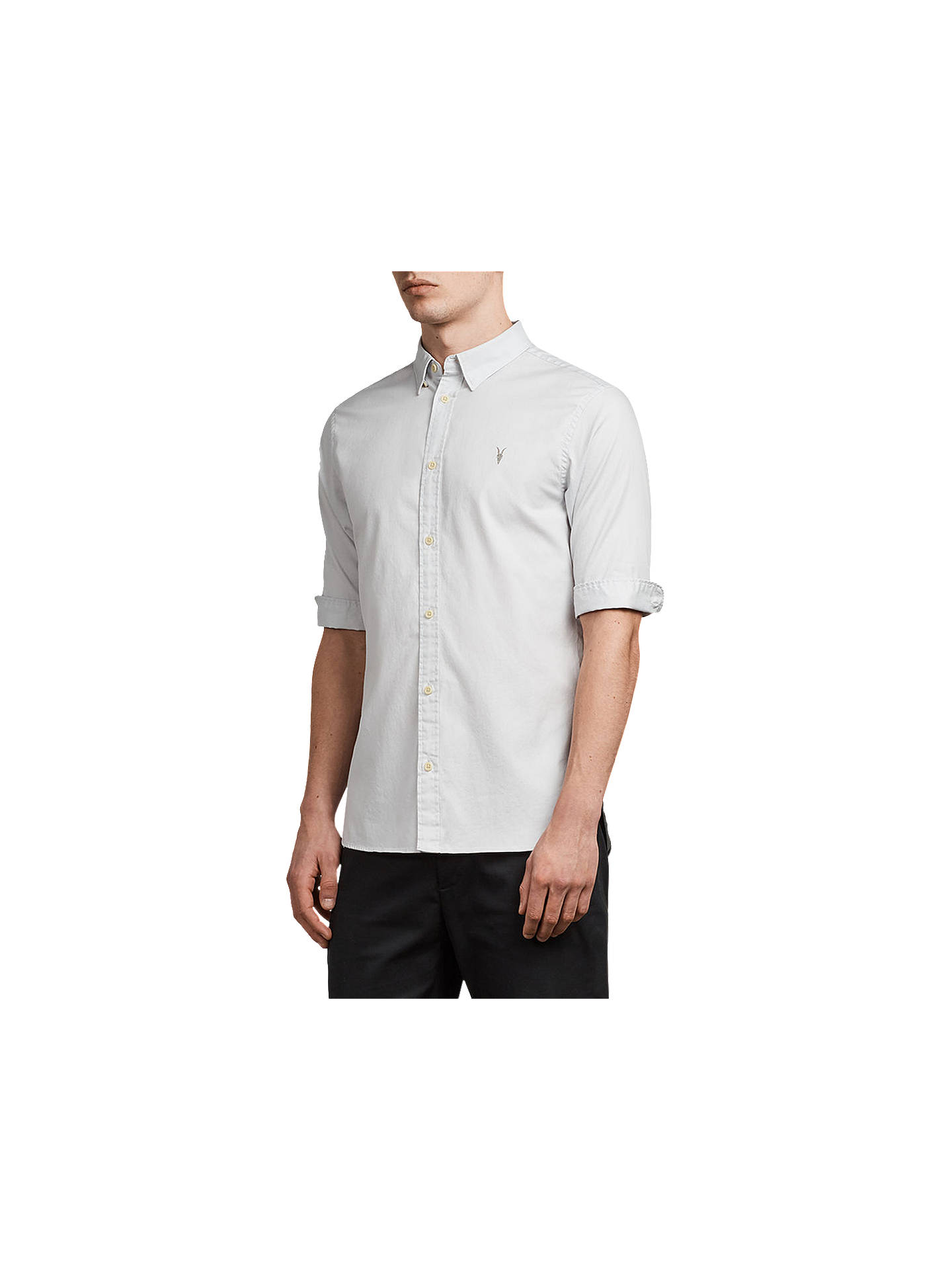 BuyAllSaints Redondo Half Sleeve Shirt, Celest Blue, XS Online at johnlewis.com
