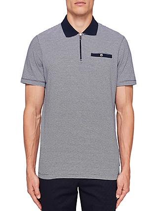b16ef66d490539 Ted Baker Whiptt Zip Striped Polo Shirt